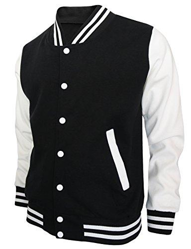 BCPOLO Herren Baseballjacke Baumwolle Varsity Jacket Letterman-Jacke 8 Farben-Black L