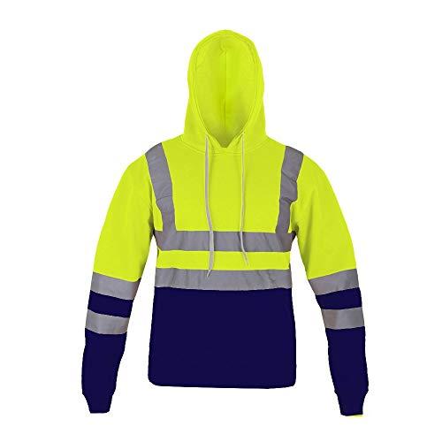 Top Fashion18 Herren 2 Tone High VIS Pullover Arbeitskleidung Hoodie (Neon Gelb, L (EU 42-44)) - Neon Ton