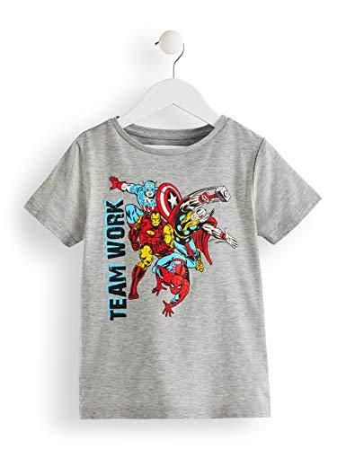 RED WAGON Jungen T-Shirt Marvel Avengers Print, Grau (Grey Marl 001), 110 (Herstellergröße: 5 Jahre)