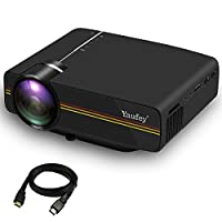 YaufeyŽ 1200 lumens Mini LED Projector with Free HDMI Cable, Multimedia Home Cinema Support PC Laptop Smartphone Xbox Portable for Home Cinema Theater Entertainment and Games, Perfect Gift For Your Family, Black