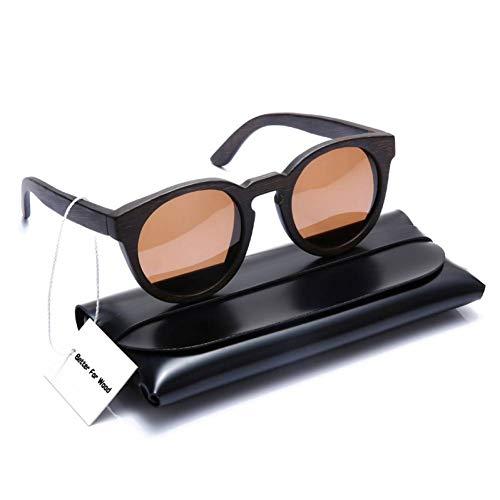 Getwli Runde Holz Bambus polarisierte Sonnenbrille für Männer und Frauen klare Sichtmit Ledertasche