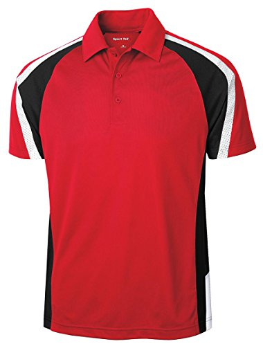 Sport-Tek Tricolor Micropique Sport-Wick ST654 Polo rot - True Red/Black/White