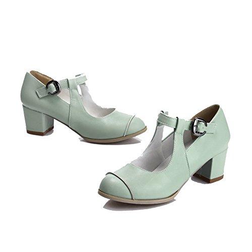 VogueZone009 Femme Rond Boucle Pu Cuir à Talon Correct Chaussures Légeres Cyan