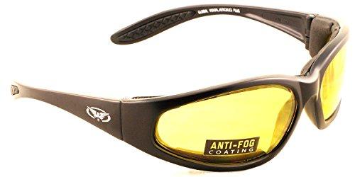 Gelb getönte Gläser Motorrad wraparound / Biker Sonnenbrille mit EVA-Schaum Futter und bruchsicher Antifog Linsen mit freiem Microfaser Aufbewahrungstasche.