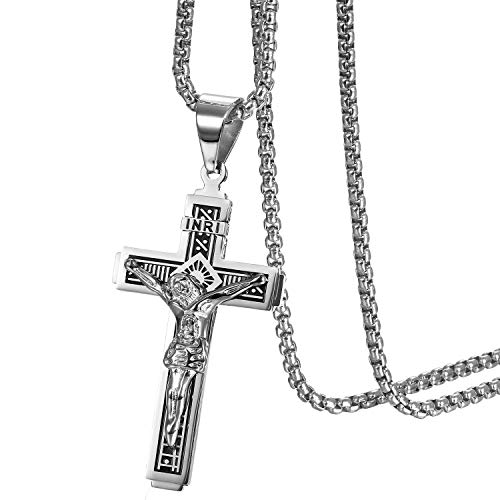JewelryWe Schmuck Herren Halskette Katholische Jesus Christus auf INRI Kreuz Kruzifix Edelstahl Anhänger mit 22 Zoll Kette Silber