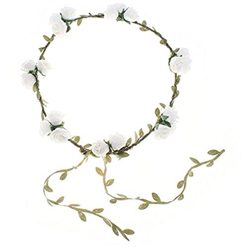 Blumenstirnband Kopfband Kranz von Rosen Braut Brautjungfer Haarschmuck Blumen (1# weiß)