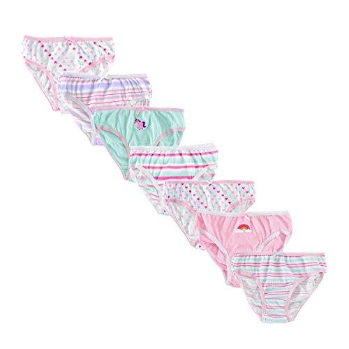 Mädchen Unterwäsche - gemusterte Baumwollunterhosen in Geschenkverpackung (7 Stück) (5-6-jährige (Größe: 110-116cm, Taille: 62-65cm)) (Option 2)