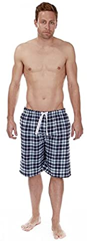 Mens 100% Cotton Pyjama Bed Shorts Long Check Flannel Tie Waist