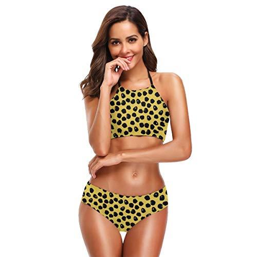 Womens Fashion Printing Bikini Set Black and Yellow Dots Black and Yellow Cheetah Spots Spot Inky Dots High Neck Halter Swimsuit