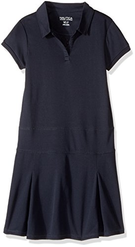 Nautica Big Girls' Short Sleeve Knit Performance Dress, Su Navy, M (8/10)