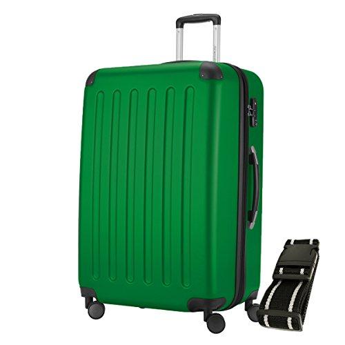 HAUPTSTADTKOFFER - Spree - Hartschalen-Koffer Koffer Trolley Rollkoffer Reisekoffer Erweiterbar, 4 Rollen, TSA, 75 cm, 119 Liter, Gepäckgurt, Grün