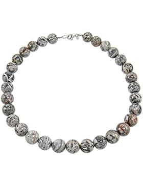 Yvesse Damen-Collier Halskette Sterling-Silber 925 rhodiniert Picasso-Jaspis