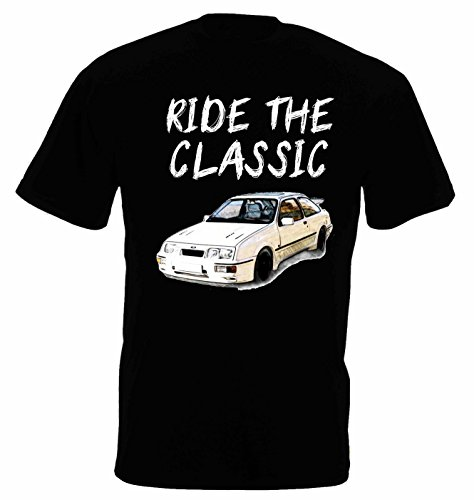 Lulchev Design Ford Sierra Cosworth Classic Herren T Shirt T-Shirt Kurzarm (Schwarz, XL)