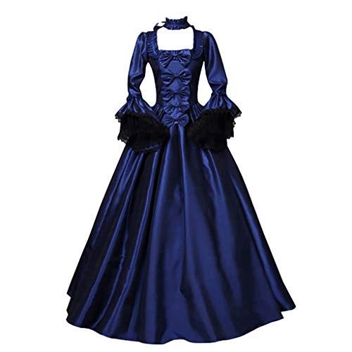 Damen Halloween Lolita Kleid Gothic viktorianischen Kleider Vintage mittelalterlichen Renaissance Kostüm bodenlangen Brautjungfer Kleid Schnüren Abendkleider Partykleid (Blau, (Heute Kostüm)