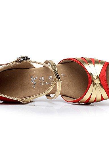 ShangYi Scarpe da ballo - Non personalizzabile - Da donna / Per bambini - Danza del ventre / Balli latino-americani / Salsa - Quadrato - Vellutato Red