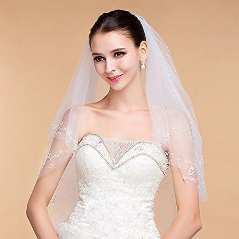 Moda Accesorios de boda blanco de marfil de doble - capa hecha a mano Dingzhu Velo de la Novia