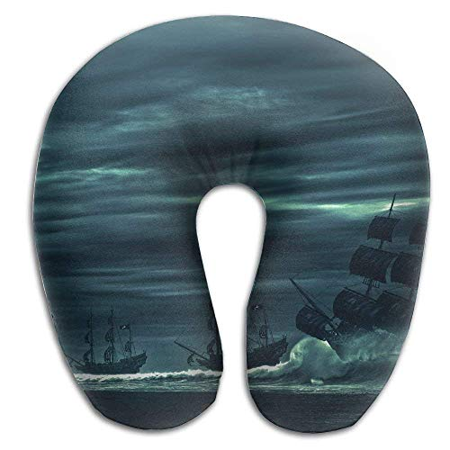 Nifdhkw Ocean Storm Pirate Ship Sea Print U Shaped Pillow Memory Foam Neck Pillow Travel Relief Neck Pain Comfortable Super Soft Cervical Pillows Resilient Material Relex Pollow