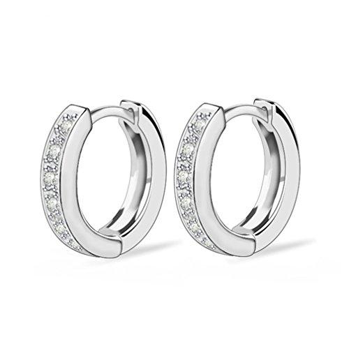 SELOVO Größe's Zirkonia Rund Piercing Creole Ohrringe Silber-Ton Weiß