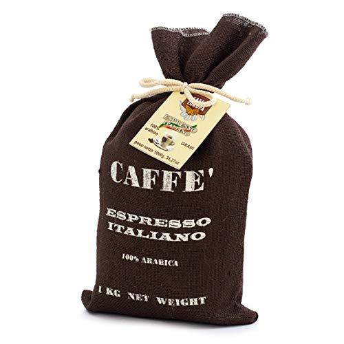 Caffè 100% arabica in confezione regalo natalizia - speciale sacco juta con grani 1kg tostatutra artigianale