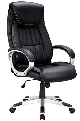 High-Back Executive Office Chair, IntimaTe WM Heart Faux Leather Large Seat Computer Desk Chair, Ergonomic Design Adjustable Seat Height, Synchro Tilt Mechanism, 360 Degree Swivel, Black (80cm Back)