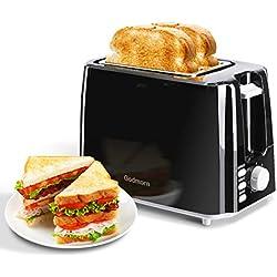 Grille Pain Noir Toaster Godmorn , ramasse-miettes amovible, remontée extra-haute, avec 7 contrôle de brunissage variable. 3 en 1 Fonctions décongeler, réchauffer et annuler. 2 Fentes larges.