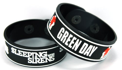 Sleeping With Sirens Green Day 2pcs NEU. Bracciale Wrist Band 2 X 97 A92
