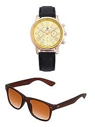 Big Tree Chronograph Look Analogue Gold Dial Black Leather Belt Mens Watch & BIG Tree Cinnamon Brown Color UV Protected Wayfarer Sunglasses Goggles Combo Set