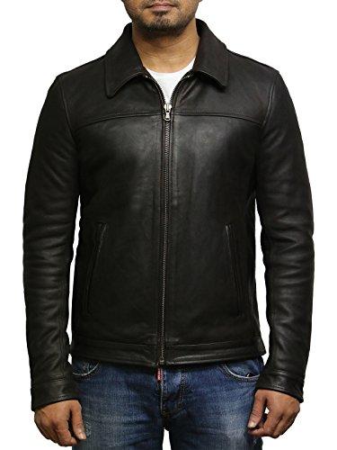 Brandslock Herren Braune Kuh Versteck Echtes Leder Harrington Brando Jacke (XL, Braun) (Braune Leder Echt Jacke)