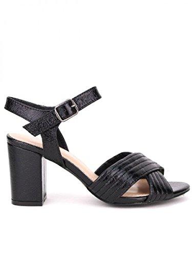 Cendriyon, Sandale noire Brillant NIO NIO Chaussures Femme Noir