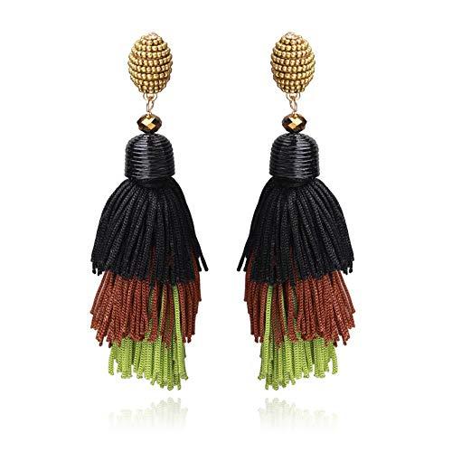 Yiyiyya orecchini donna nappe,orecchini di nappa multi-strato di moda ciondolo orecchini retrò verde selvaggio europa e gli stati uniti popolari gioielli orecchini personalità esagerata deg