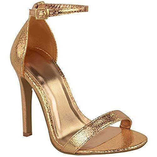 Fashion Thirsty da Donna Stiletto Sandali Tacco Alto Cinturino alla Caviglia Scarpe Punta Aperta - Rosa Dorato Pieghe Metallizzato, 40