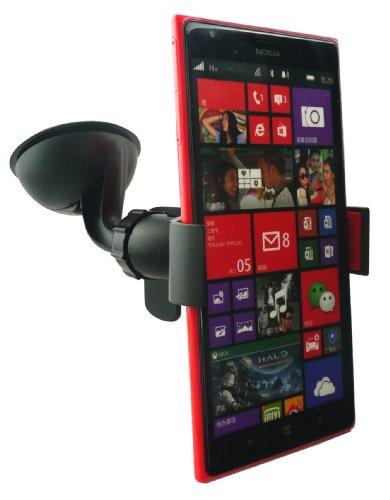 Emartbuy® Supporto a Ventosa Universale Rotante Nero adatto per Nokia Lumia 1520 - con Caricabatteria Micro USB Compatibile