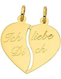 Partneranh/änger Herz 585er Gold Gelbgold 14 Karat teilbar