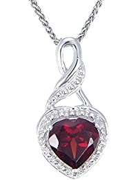 "Sterling Silver Garnet Heart Pendant (0.70 CT) With 18"" Chain"