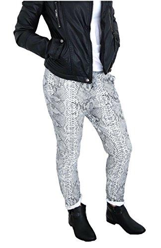 Damen Sweatpants Baggy Boyfriend Hose Sweathose gemustert Jogpant Jogginghose Loose Fit M L 38 40 42 (8272) (Snake Print - weiß grau) (Print Hose Snake)