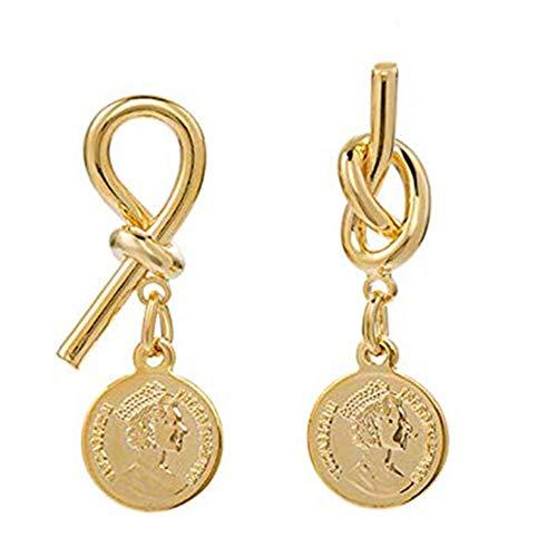 Schneespitze Damen Ohrringe Stecker S925 Sterling Silber Nadel Goldohrringe Silberstich Retro Goldmünze Einfaches Asymmetrisch Porträt Knoten -