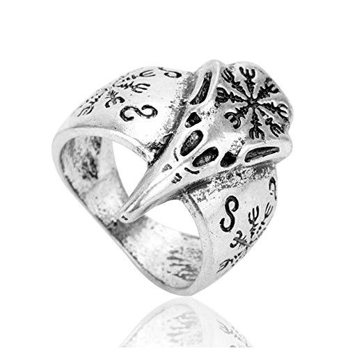 Nordic Viking Ravens Schädel Kopf Rune Ring-Celtic Irland Retro Crow Totem Amulett, Nordische Mythologie Religion Heidnischen Schmuck Zubehör,10