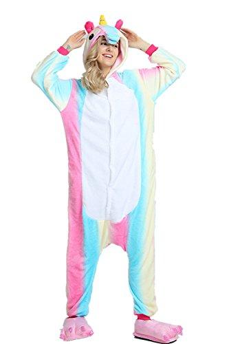 afanzug Unisex Erwachsene Einhorn Pyjama Tier Flanell Cosplay Jumpsuits Kostüme Party Overalls Halloween Karneval Neuheit Schlafanzüge (Bunt, S) ()
