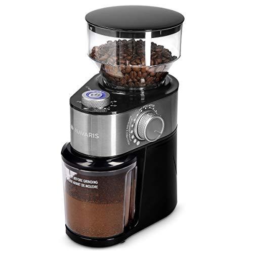 Navaris Elektrische Kaffeemühle mit Edelstahl Scheibenmahlwerk - 200W - für bis zu 14 Tassen Kaffee - 18 Mahlgrade - Kaffee Mühle Metallic Silber