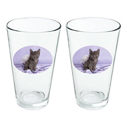 Domestic Shorthair Chaton Ailes d'ange Violet satiné fantaisie 453,6 gram Pinte à boire en verre trempé Lot de 2
