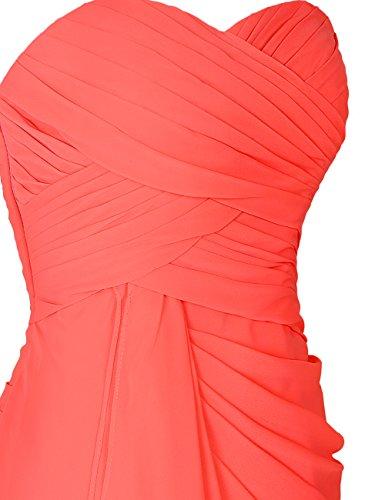 Dressystar Robe femme, Robe de soirée/cocktail courte,bustier,plissée,en Mousseline Corail