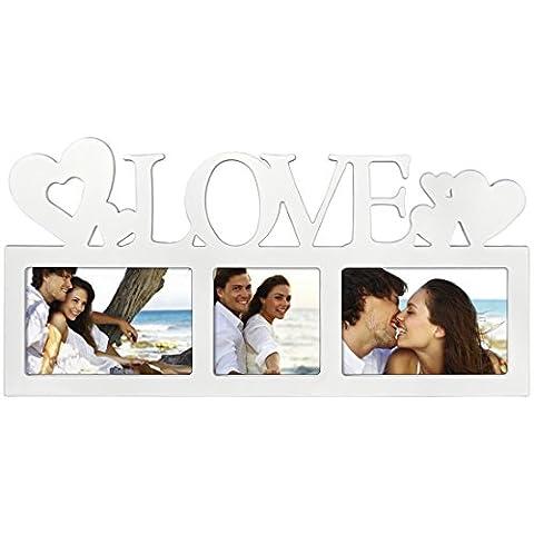 Hama Collage Bilderrahmen für Fotocollagen Montreal - Love (Fotorahmen mit Love-Schriftzug und Herzen, für 3 Fotos, Kunststoff-Rahmen, Echtglas, Fotogalerie) weiß