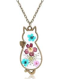 Tonpot Belle Elegante Simple Gato Forma Colgante Natural deshidratado Flor aleación Collar Regalo de cumpleaños para