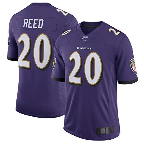 ZSMJ Custom Jersey Herren #20 Reed Ravens Baltimore Purple 100 Vapor Limited Jersey Sportswear T-Shirt Gr. 56, violett
