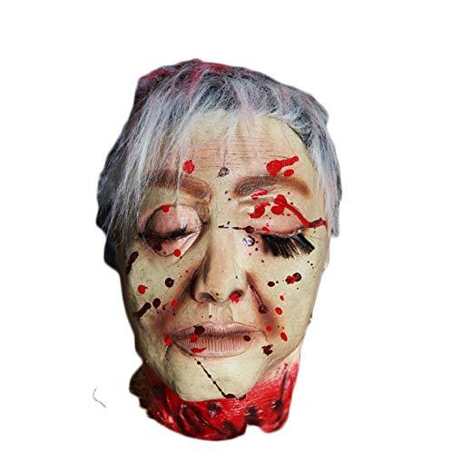 XINXIN Halloween Holiday Liefert Bar Haunted Haus Requisiten Horror Hängende Geister Kopf Weißes Haar Geschlossene Augen Blutende Sling Head-Stil Ist Zufällig