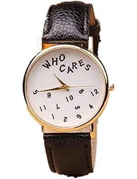 Sannysis Damen Brief beiläufige who cares Quarz-Armbanduhr