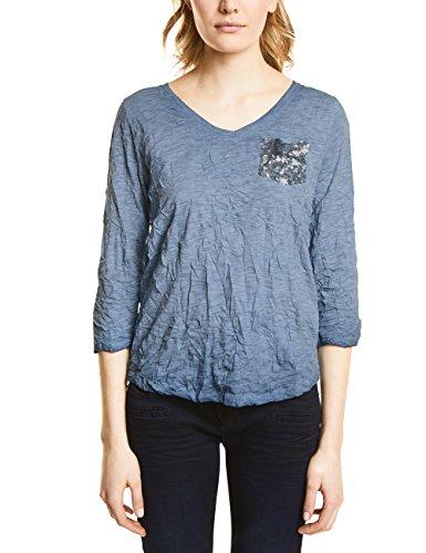 Street One T-Shirt Manches Longues Femme Blau (Stone Blue oilwash 11243)