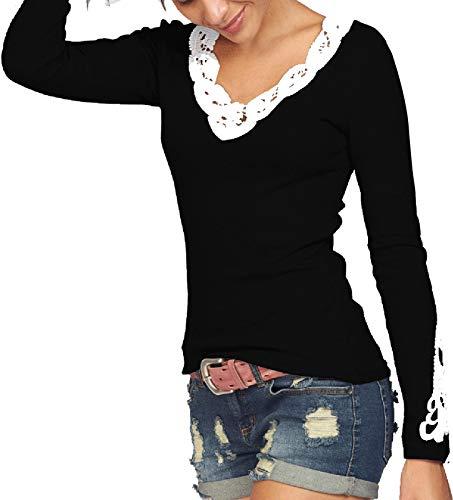 TrendiMax Damen V-Ausschnitt Langarmshirt Pullover Rundhals Blumen Spitzen Shirt Langarm Casual Oberteile Tops (Schwarz, Medium)