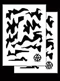 Säure Tactical® 2Pack–23cm x 35cm Mylar Camo Schablonen Camouflage Gun Paint Duracoat cerakote Woodland Camo