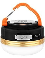 Lanterne de Camping, HiHiLL Lampe de Camping LED Rechargeable par port USB, câble USB et 3 modes lumineux, 800lm, mini Lampes de Poche etanche et portable pour randonnée pêche Camping Lampe urgences lanterne